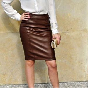 Faux leather dark brown pencil skirt